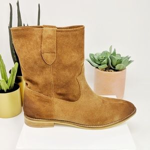 COCONUTS BY MATISSE camel suede midcalf boot